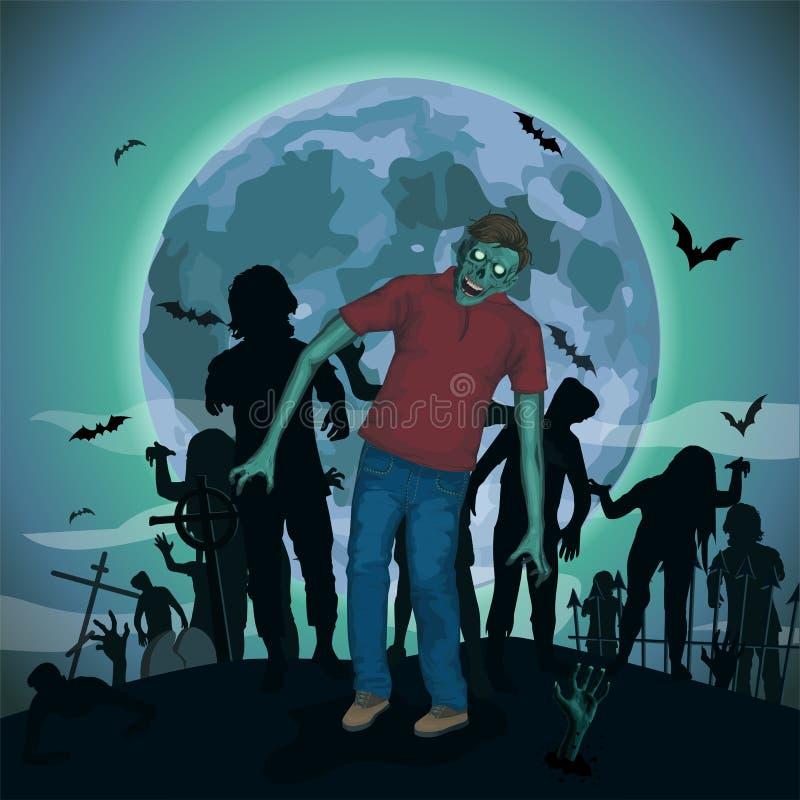 Anormal do monstro dos espírito maus do zombi do zombi da lua da noite de Dia das Bruxas ilustração stock