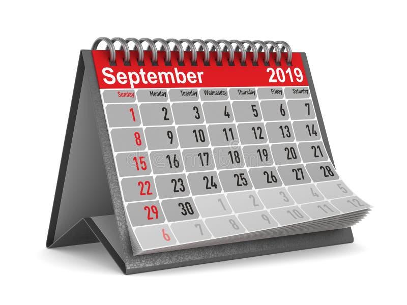 2019 anos Calendário para setembro Ilustração 3d isolada ilustração stock