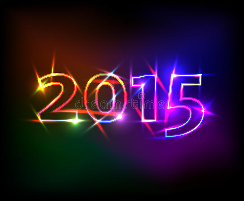2015 anos com efeito das luzes de néon colorido ilustração do vetor