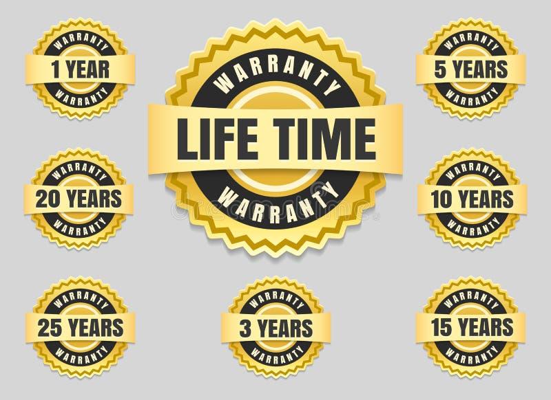 Anos das etiquetas da garantia e os selos da garantia ilustração royalty free