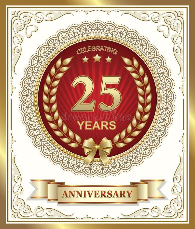25 anos de aniversário ilustração do vetor