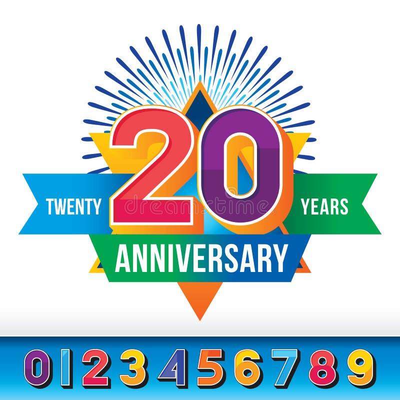 20 anos de aniversário ilustração stock