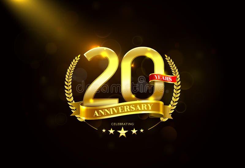 20 anos de aniversário com a fita dourada da grinalda do louro ilustração stock