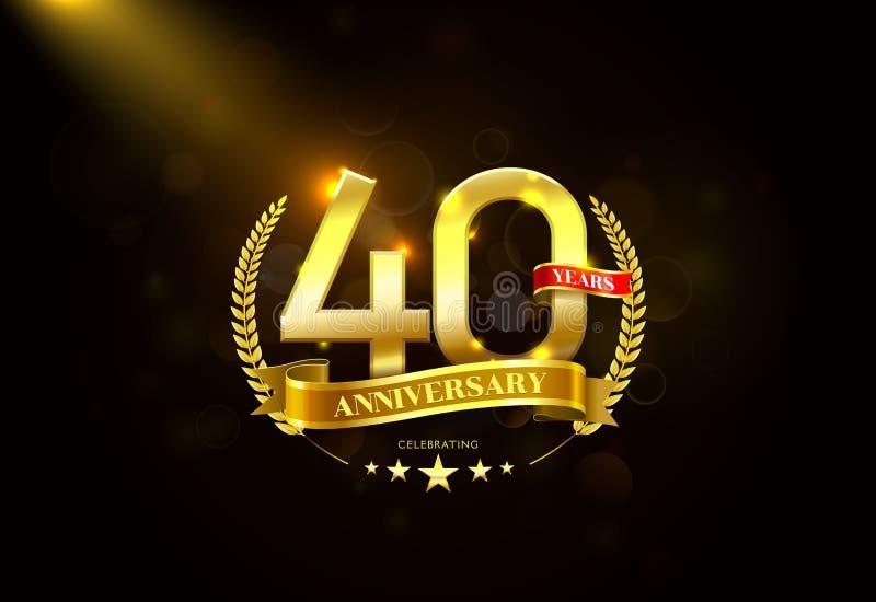 40 anos de aniversário com a fita dourada da grinalda do louro ilustração do vetor