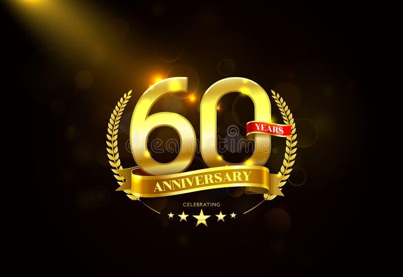 60 anos de aniversário com a fita dourada da grinalda do louro ilustração do vetor