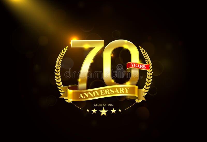70 anos de aniversário com a fita dourada da grinalda do louro ilustração stock
