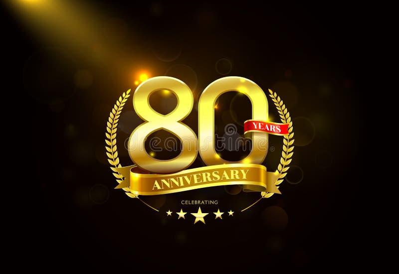 80 anos de aniversário com a fita dourada da grinalda do louro ilustração royalty free