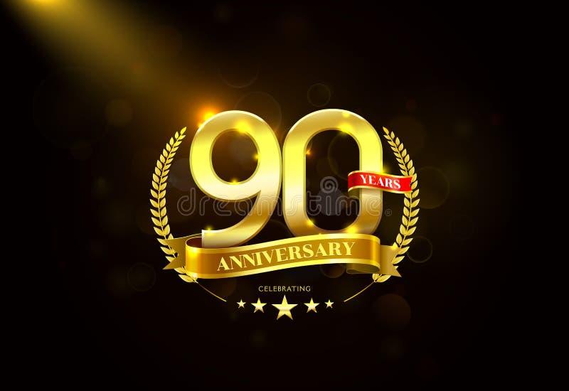 90 anos de aniversário com a fita dourada da grinalda do louro ilustração royalty free