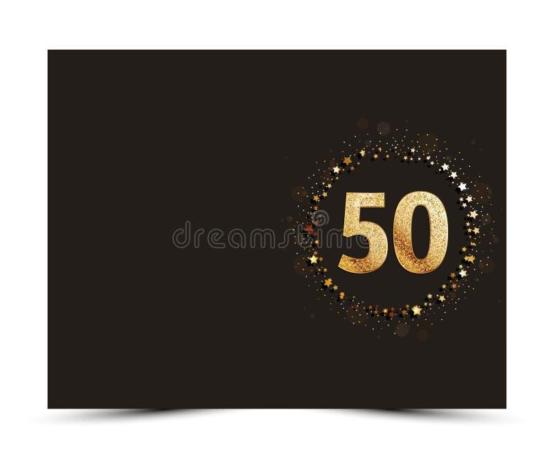50 anos de aniversário decoraram o molde do cartão do cumprimento/convite com elementos do ouro ilustração royalty free