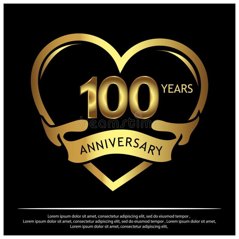 100 anos de aniversário dourado projeto do molde do aniversário para a Web, jogo, cartaz criativo, brochura, folheto, inseto, com ilustração do vetor