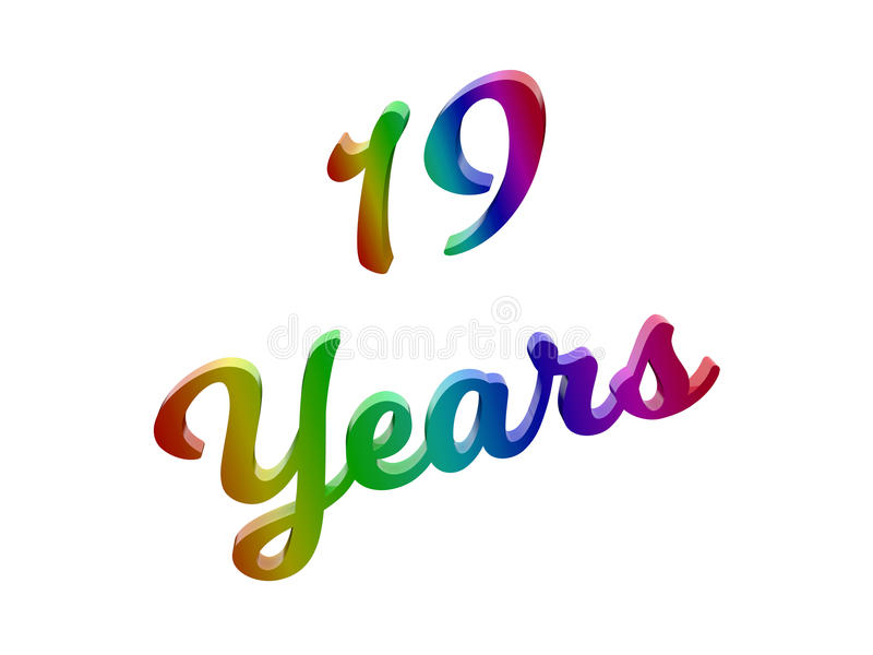 19 anos de aniversário, feriado 3D caligráfico renderam a ilustração do texto colorida com inclinação do arco-íris do RGB ilustração do vetor