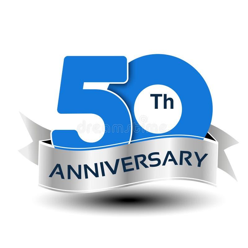 50 anos de aniversário, número azul com fita de prata ilustração stock