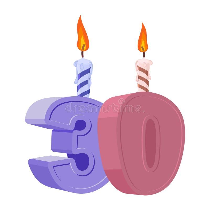 30 anos de aniversário Número com vela festiva para o bolo do feriado ilustração royalty free