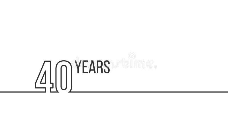 40 anos de anivers?rio ou anivers?rio Gr?ficos lineares do esbo?o Pode ser usado imprimindo materiais, brouchures, tampas, relat? ilustração royalty free