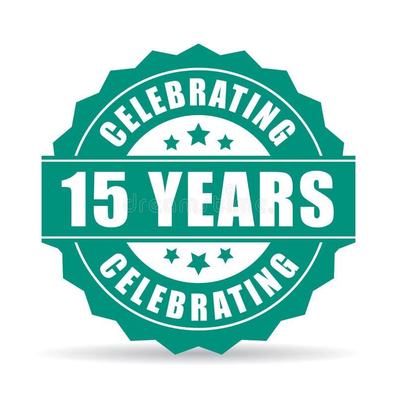 15 anos de aniversário que comemora o ícone ilustração do vetor