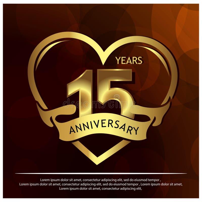 15 anos de anivers?rio dourado projeto do molde do anivers?rio para a Web, jogo, cartaz criativo, brochura, folheto, inseto, comp ilustração royalty free