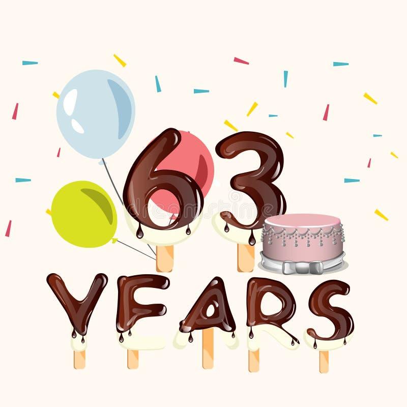 63 anos de cartão do feliz aniversario ilustração do vetor