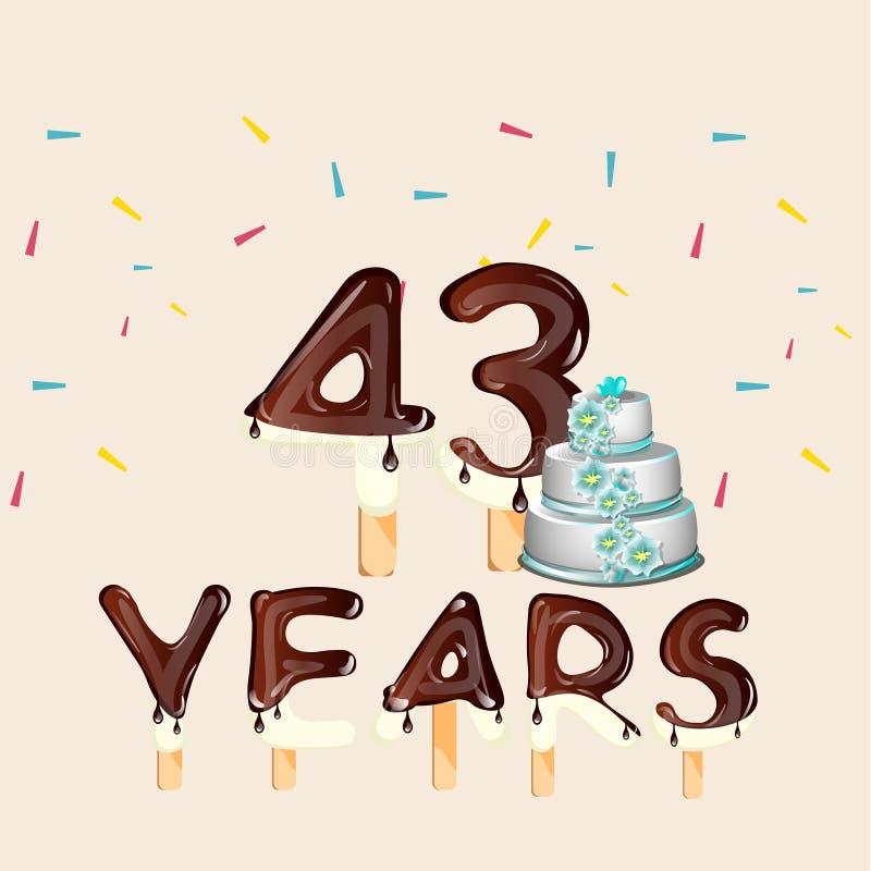 43 anos de cartão do feliz aniversario ilustração stock
