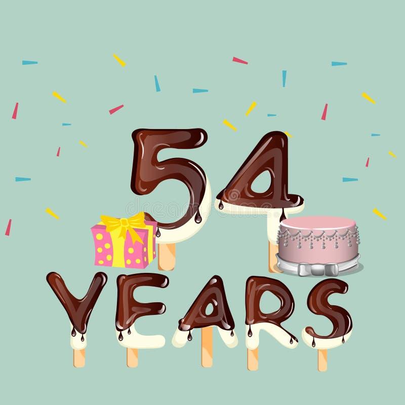 54 anos de cartão do feliz aniversario ilustração do vetor
