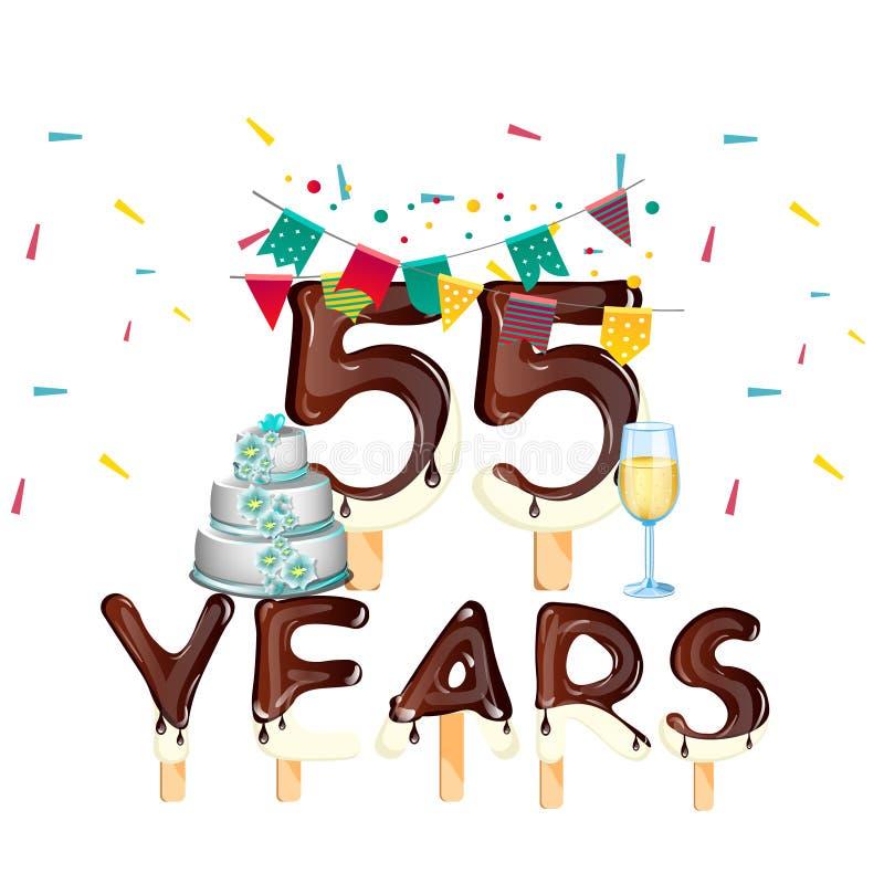 55 anos de cartão do feliz aniversario ilustração stock