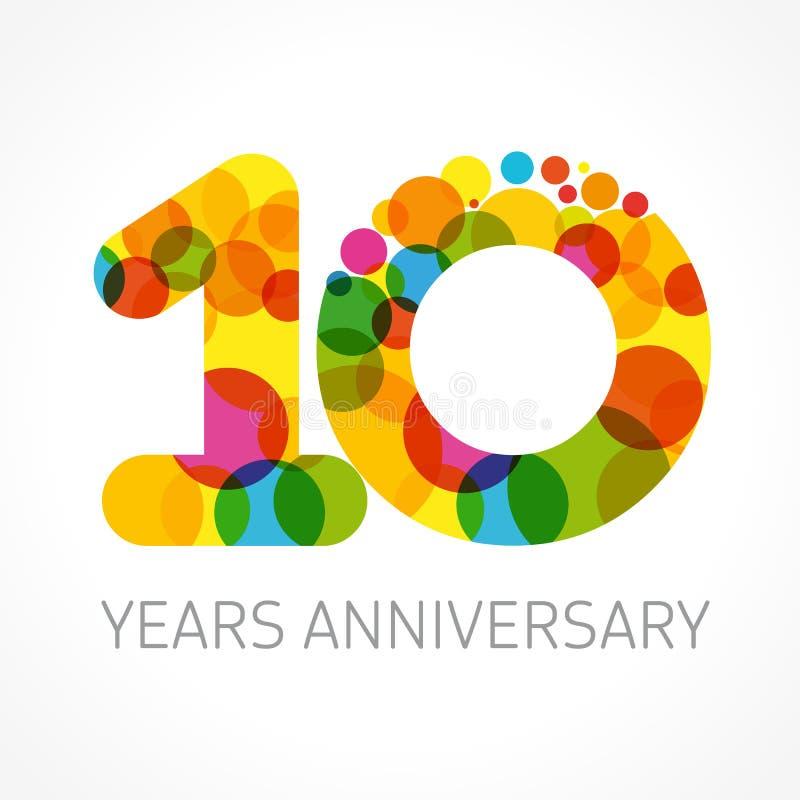 10 anos de cartão velho do aniversário ilustração royalty free