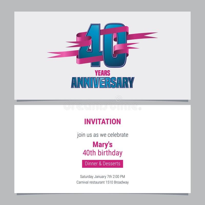 40 anos de convite do aniversário à ilustração do vetor da celebração ilustração stock