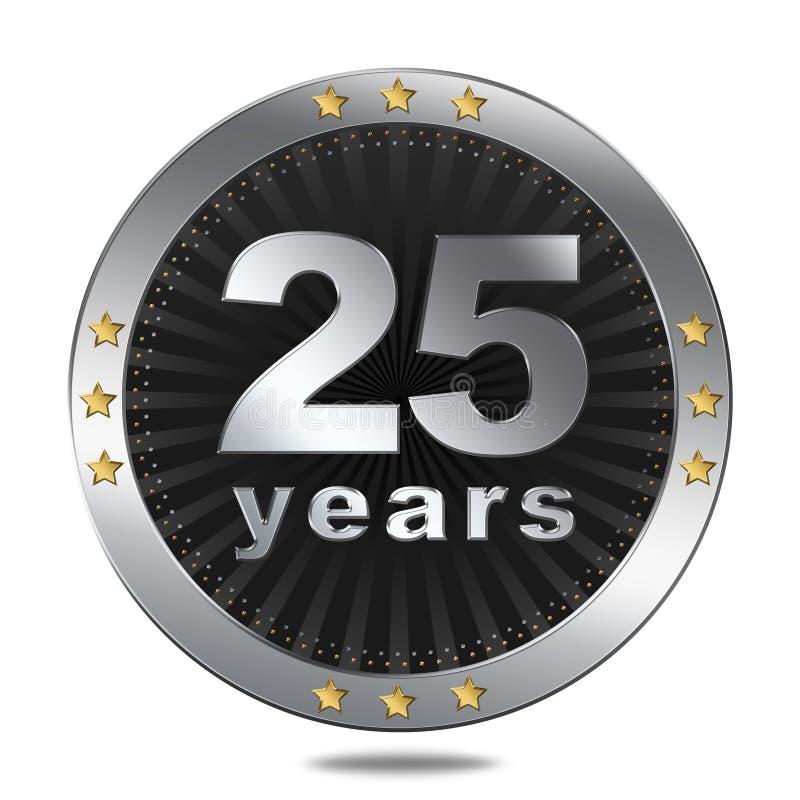 25 anos de crachá do aniversário - cor de prata ilustração do vetor