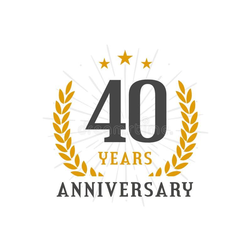 40 anos de crachá dourado do logotipo da grinalda do louro do aniversário ilustração stock