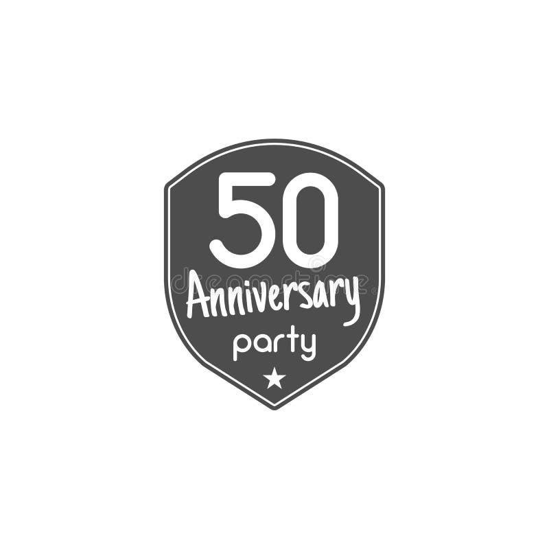 50 anos de crachá, sinal e emblema do aniversário com fita e elementos da tipografia projeto liso com sombra Vetor ilustração royalty free
