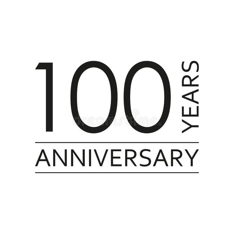 100 anos de emblema do aniversário Ícone ou etiqueta do aniversário 100 anos elemento do projeto de celebração e de felicitações  ilustração royalty free