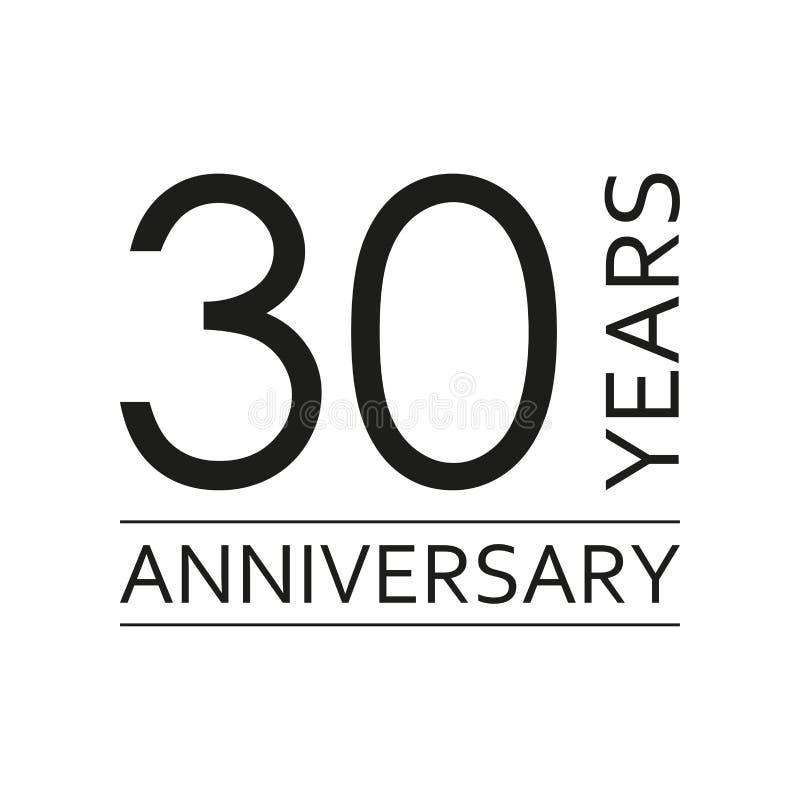 30 anos de emblema do aniversário Ícone ou etiqueta do aniversário 30 anos elemento do projeto de celebração e de felicitações Ve ilustração royalty free