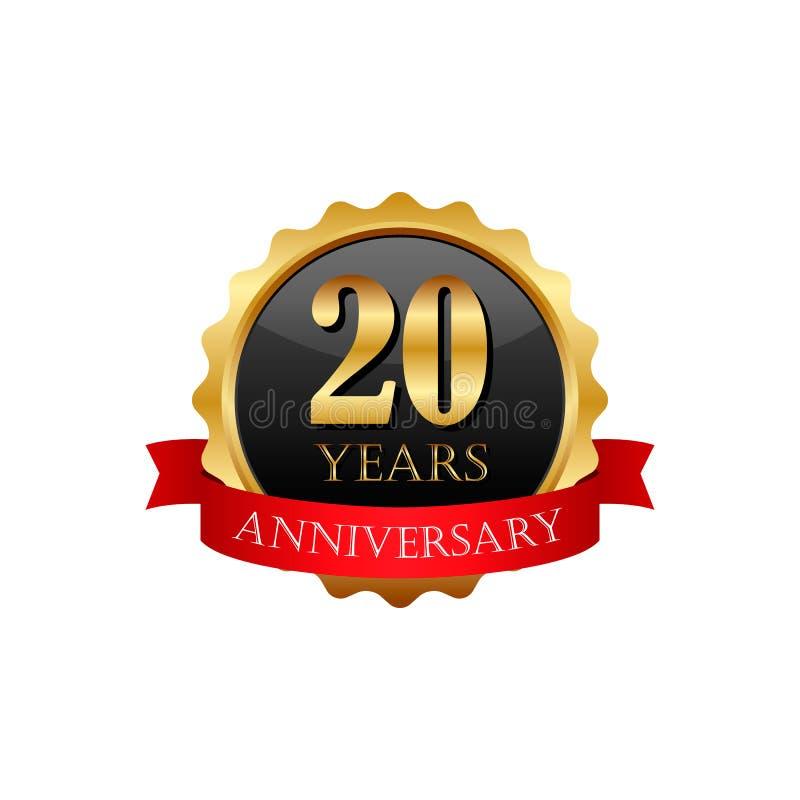 20 anos de etiqueta dourada do aniversário com fitas ilustração royalty free