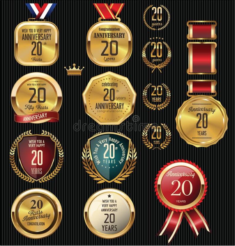 20 anos de etiquetas e crachás do aniversário ilustração royalty free