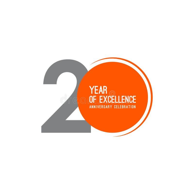 20 anos de ilustração do projeto do molde do vetor da celebração do aniversário da excelência ilustração royalty free