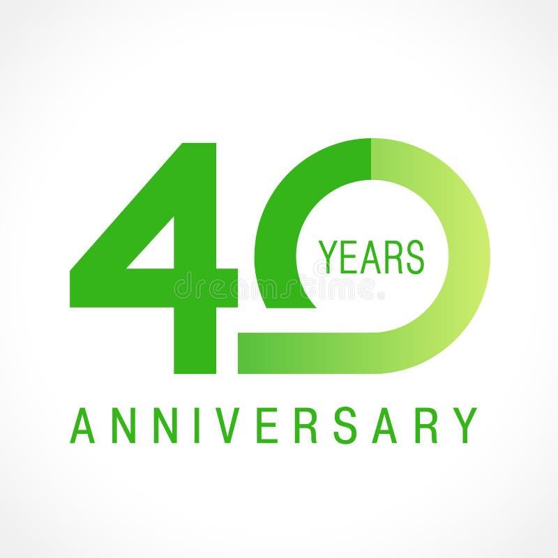 40 anos de logotipo clássico de comemoração velho ilustração royalty free