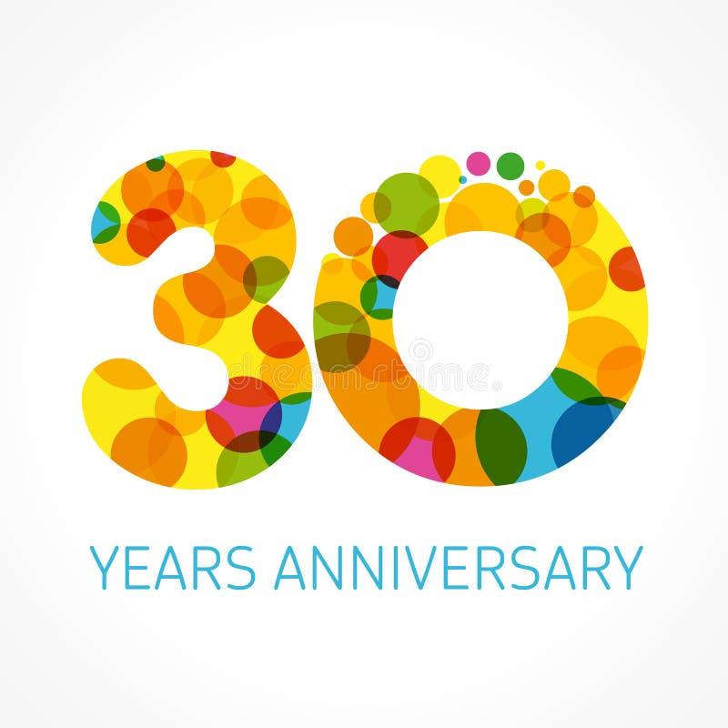 30 anos de logotipo colorido círculo do aniversário ilustração do vetor