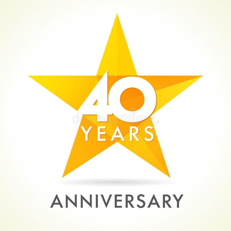 40 anos de logotipo de comemoração velho da estrela ilustração stock