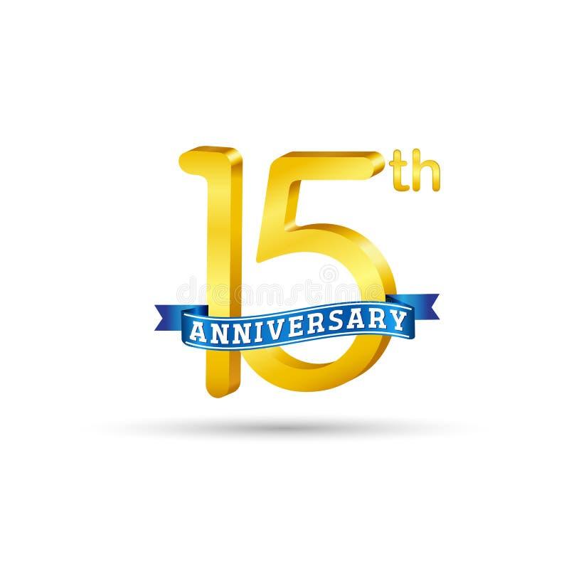 15 anos de logotipo do aniversário com fita azul ilustração stock
