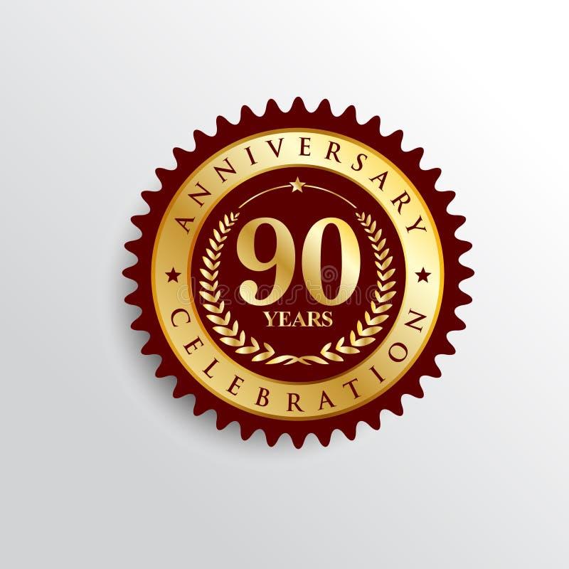 90 anos de logotipo dourado do crachá do aniversário ilustração do vetor