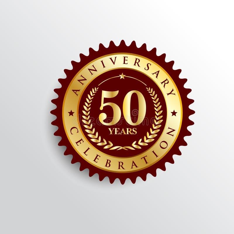 50 anos de logotipo dourado do crachá da celebração do aniversário ilustração royalty free