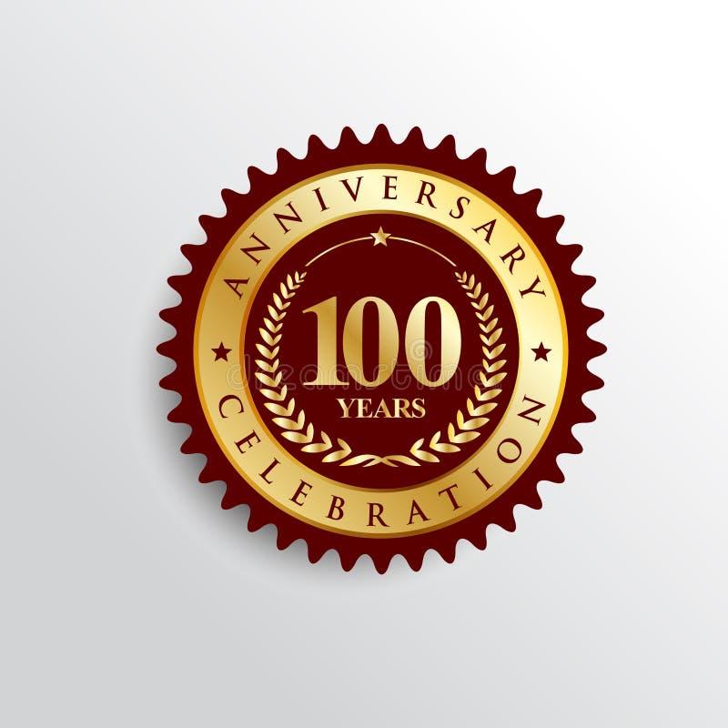 100 anos de logotipo dourado do crachá da celebração do aniversário ilustração do vetor