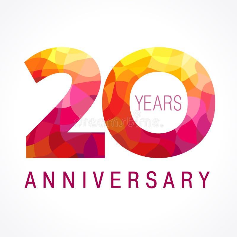 20 anos de logotipo impetuoso de comemoração velho ilustração royalty free