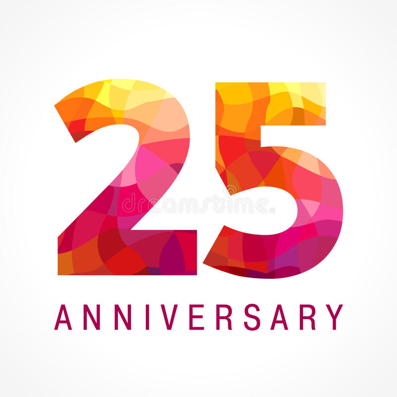 25 anos de logotipo impetuoso de comemoração velho ilustração stock