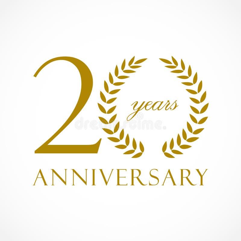 20 anos de logotipo luxuoso velho ilustração stock