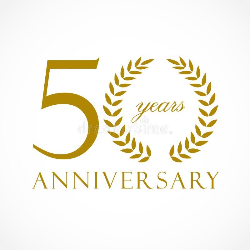 50 anos de logotipo luxuoso velho ilustração royalty free