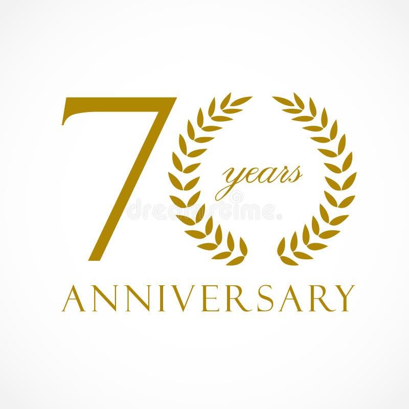 70 anos de logotipo luxuoso velho ilustração stock