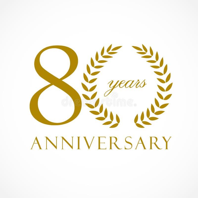 80 anos de logotipo luxuoso velho ilustração stock