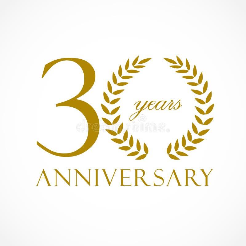 30 anos de logotipo luxuoso velho ilustração royalty free