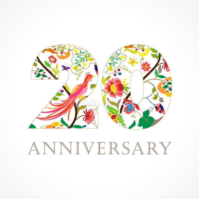 20 anos de logotipo popular de comemoração luxuoso velho ilustração do vetor