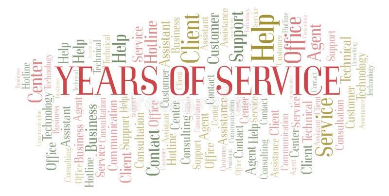 Anos de nuvem da palavra de serviço ilustração royalty free